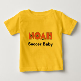 Noah in Soccer Orange Baby T-Shirt