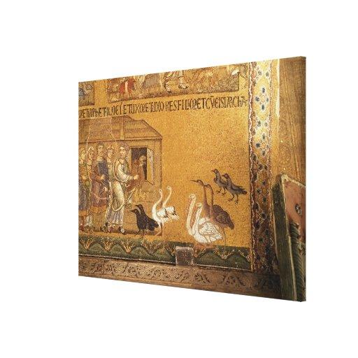 Noah que toma los animales en la arca, mosaico en  lona envuelta para galerias