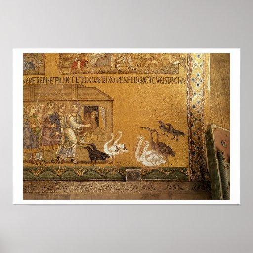 Noah que toma los animales en la arca, mosaico en  impresiones