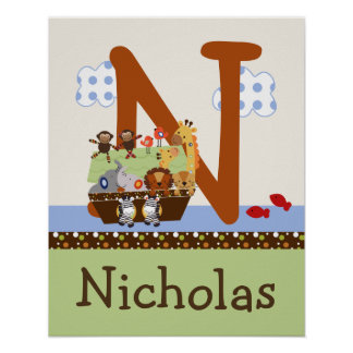 Noah s Ark Animal Pairs Initial Name Wall Poster
