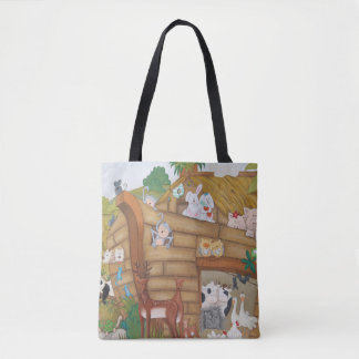 Noah's Ark Animals on a boat looking at you. Tote Bag