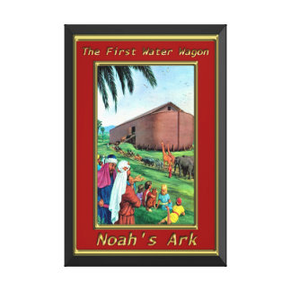 Noah`s Ark Animals walking onto the ship red frame Canvas Print
