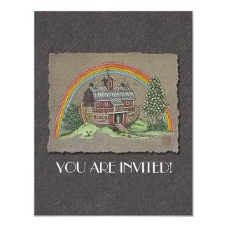 "Noah's Ark Barn 4.25"" X 5.5"" Invitation Card"