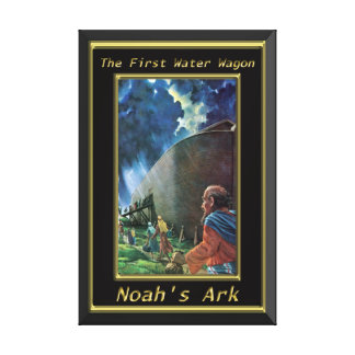 Noah`s Ark Humans walking on the ship black frame Canvas Print
