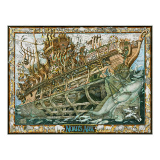 Noah s Ark illustration with cutaway of the boat Posters