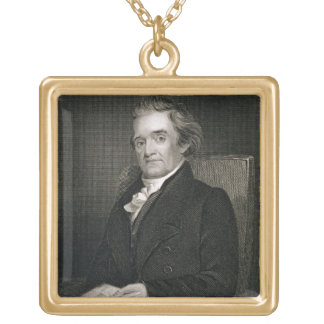 Noah Webster (1758-1843) engraved by Frederick W. Gold Plated Necklace