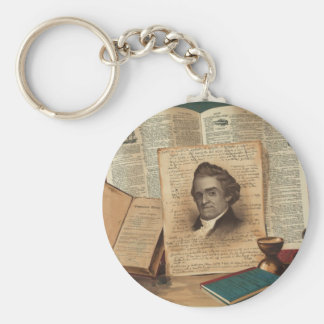 Noah Webster The Schoolmaster of the Republic Basic Round Button Keychain