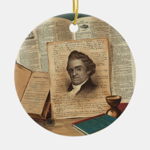 Noah Webster The Schoolmaster of the Republic Double-Sided Ceramic Round Christmas Ornament