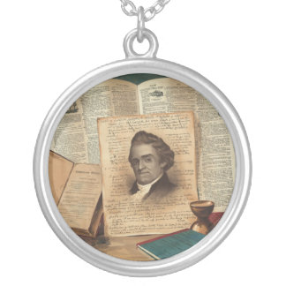 Noah Webster The Schoolmaster of the Republic Round Pendant Necklace