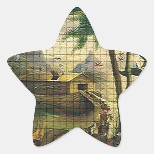 Noah y la arca pegatina en forma de estrella
