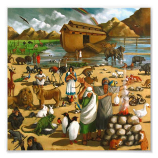 Noah y la arca: Pintura grande, historia de la bib Fotografias