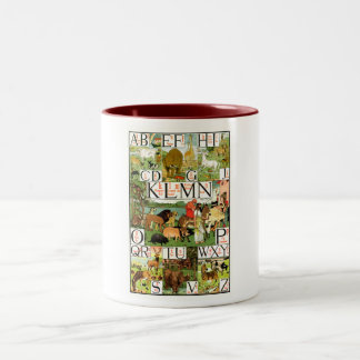 Noah's ABC Alphabet Chart in English Two-Tone Coffee Mug