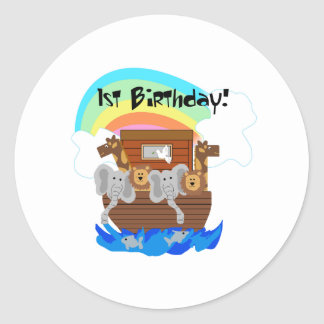 Noah's Ark 1st Birthday Classic Round Sticker