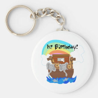 Noah's Ark 1st Birthday Tshirts and Gifts Basic Round Button Keychain