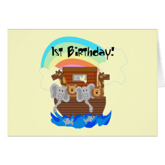 Noah's Ark 1st Birthday Tshirts and Gifts Cards