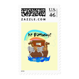 Noah's Ark 1st Birthday Tshirts and Gifts Postage Stamps