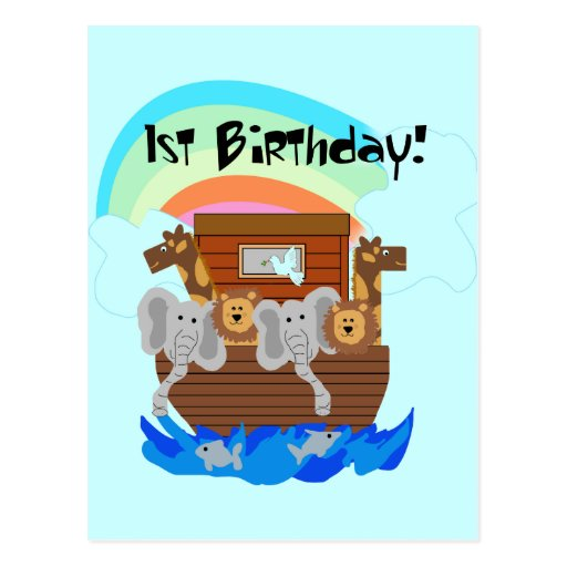 Noah's Ark 1st Birthday Tshirts and Gifts Post Card