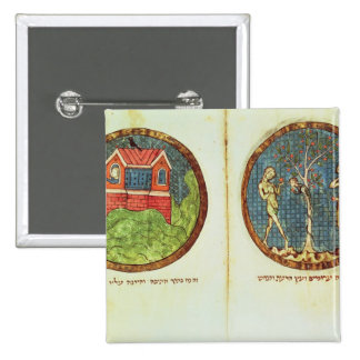 Noah's Ark and Adam and Eve 2 Inch Square Button