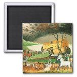Noah's Ark - Animal Art by Edward Hicks 2 Inch Square Magnet