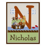 Noah's Ark/Animal Pairs Initial/Name Wall Poster