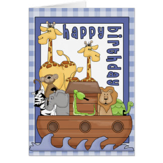 Noah's Ark Animals Boy Happy Birthday Card
