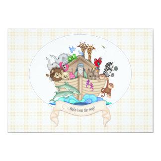 Noah's Ark Animals Ivory Gingham Card