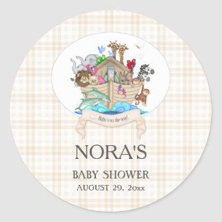 Noah's Ark Animals Ivory Gingham Classic Round Sticker