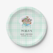 Noah's Ark Animals Mint Green Gingham Paper Plate