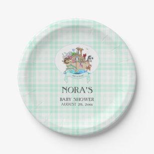 Noah's Ark Animals Mint Green Gingham Paper Plate