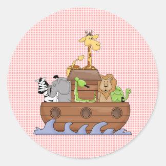 Noah's Ark Animals Pink Fun StickerS