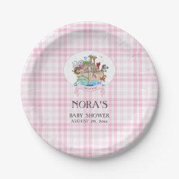 Noah\u0027s Ark Animals Pink Gingham Paper Plate  sc 1 st  Zazzle & Noahs Ark Plates | Zazzle