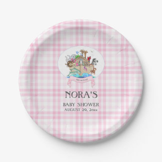 Noah's Ark Animals Pink Gingham Paper Plate