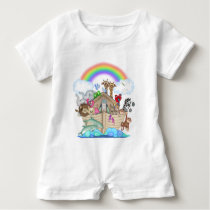 Noah's Ark baby animals romper unisex