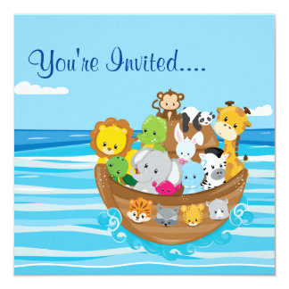 Noah's Ark | Baby Animals | Square Invitation