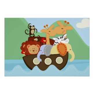 Noah's Ark Baby Nursery Poster