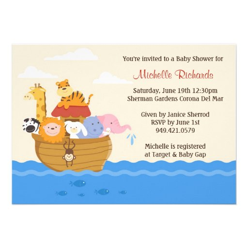Noahs Ark Baby Shower Invitation 5quot; X 7quot; Invitation Card  Zazzle