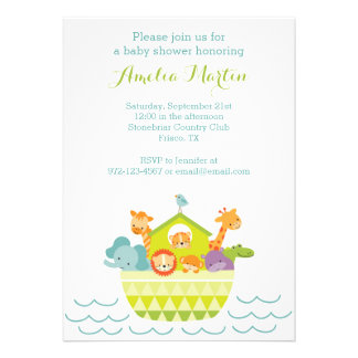 Noah's Ark Baby Shower Invitation Personalized Announcements