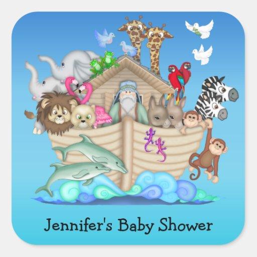 noah 39 s ark baby shower stickers zazzle