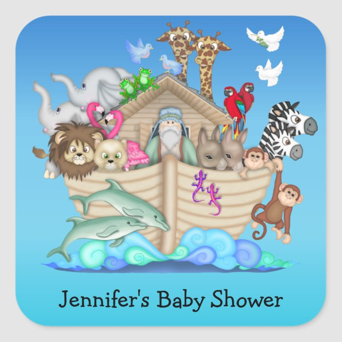 noah 39 s ark baby shower stickers zazzle