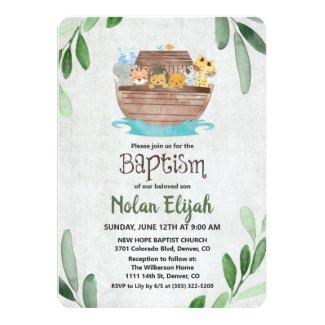 Noah's Ark Baptism Invitation