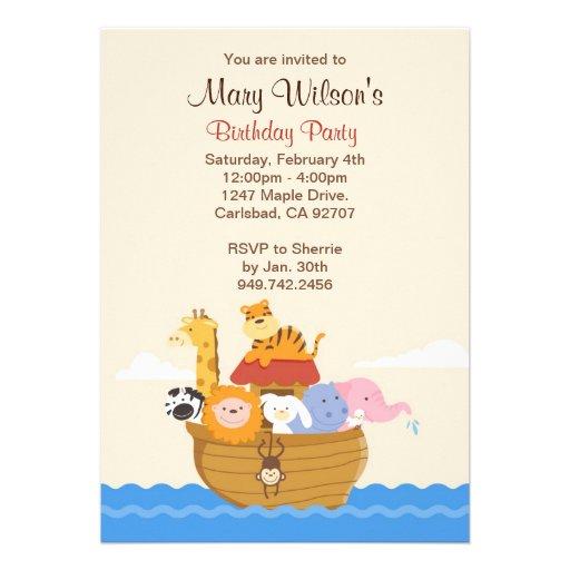 Noahs Ark Birthday Party Invitation