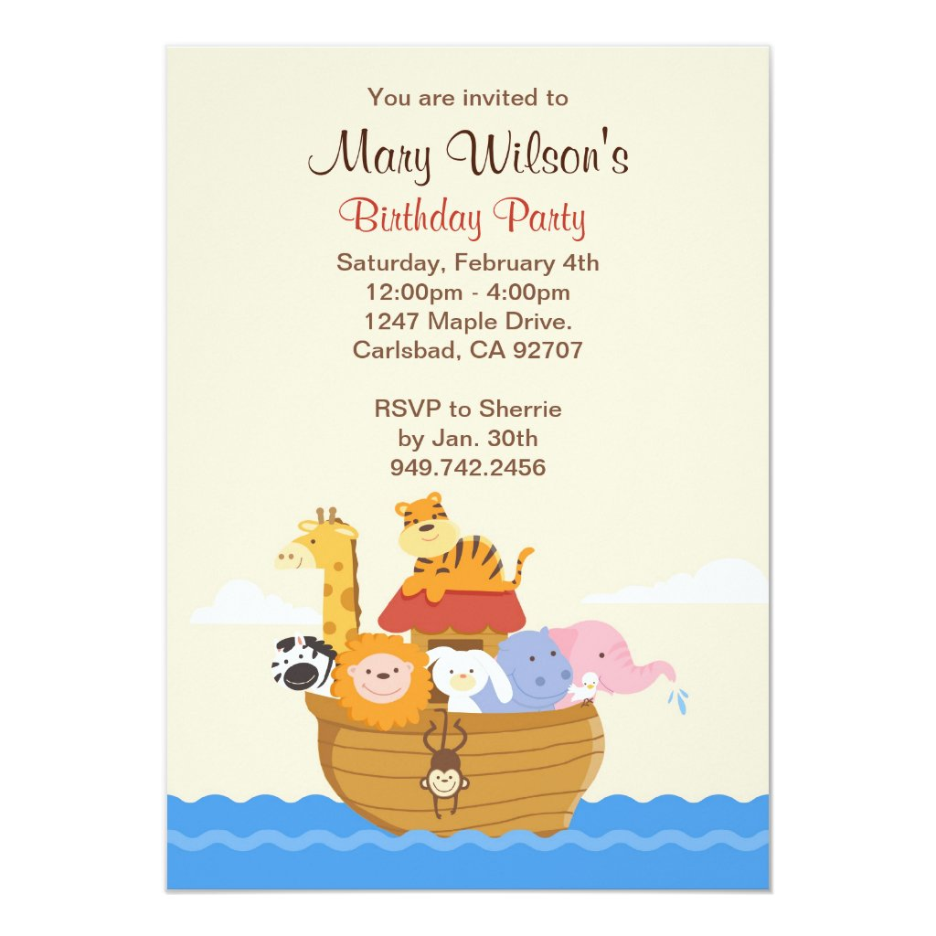 Noahs Ark Birthday Party Invitation