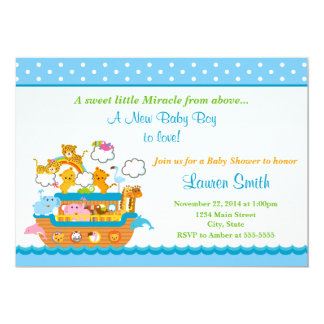 noah 39 s ark boy baby shower invitation 5x7 card