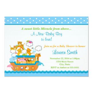 Noah's Ark Boy Baby Shower Invitation 5x7 Card