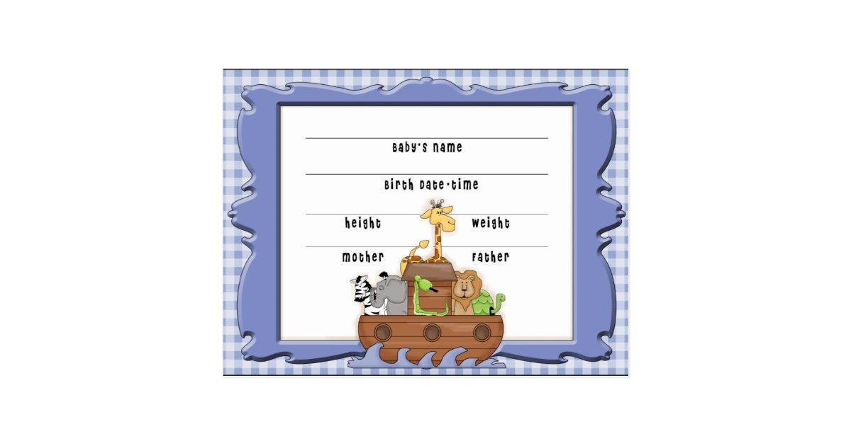 Noahs Ark Boy Birth Certificate Postcard Zazzle