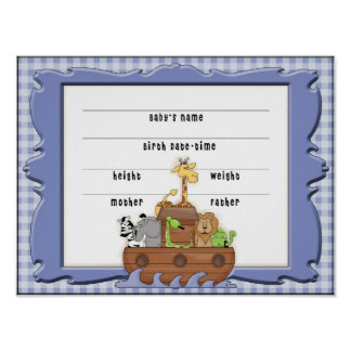 Noah's Ark Boy Birth Certificate Poster