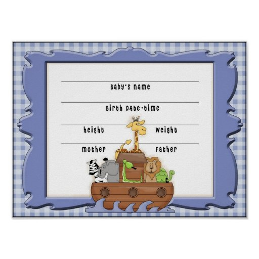 boy birth certificate template - noah 39 s ark boy birth certificate poster zazzle