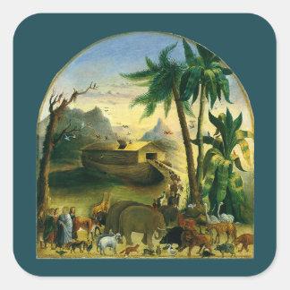 Noah's Ark by Hidley, Vintage Victorian Folk Art Square Sticker