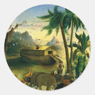 Noah's Ark by Hidley, Vintage Victorian Folk Art Classic Round Sticker