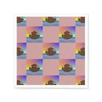 Noah's Ark Checkerboard Patterned Paper Napkin